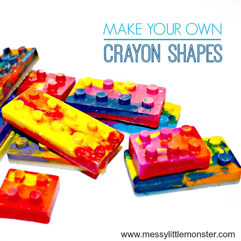 Make your own Lego brick crayons. Image of completed, colorful crayons in the shape of Lego bricks