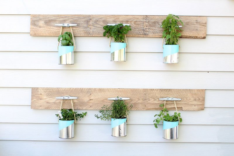 Boat dock hooks are used to hang old paint cans which house kitchen herbs to create a simple vertical planter