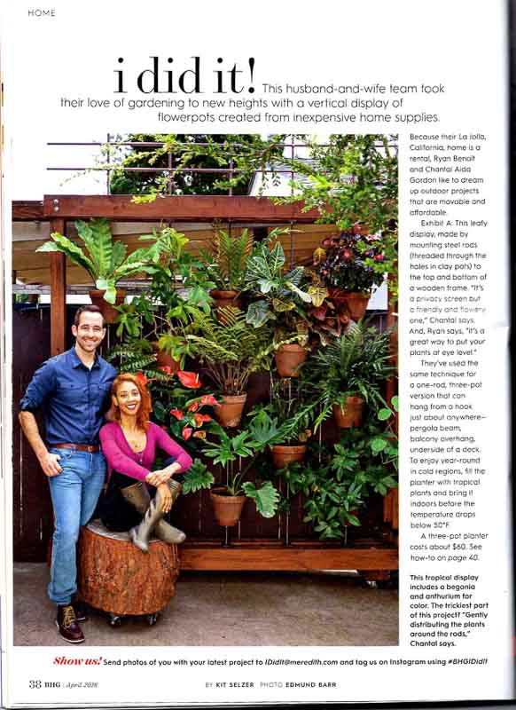 Image of a magazine article about the DIY terra cotta and pipe vertical planter created by Chantel and Ryan of The Horticult.