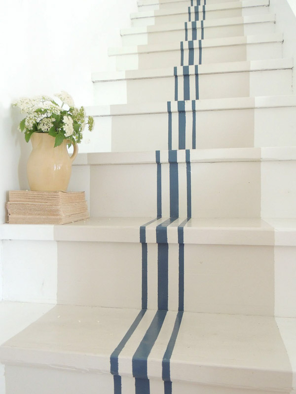 Grain Sack Inspired DIY Painted Stairs | Country Living