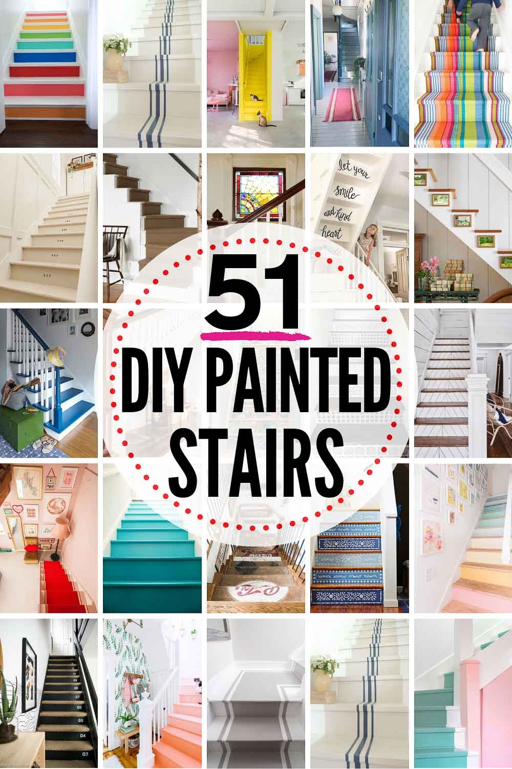 51 Diy Painted Stairs Projects That Are Amazing The Heathered Nest