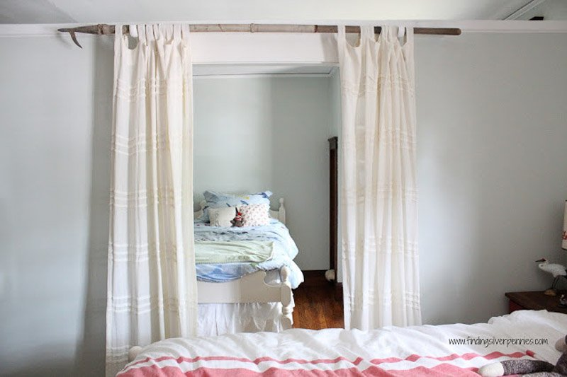 DIY Curtain Rods | from antique boat hook via Finding Silver Pennies