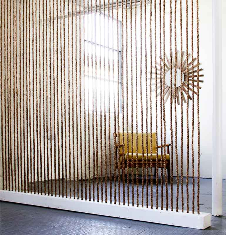 30+ Amazing Room Divider Ideas | Rope Wall Room Divider - Brick House