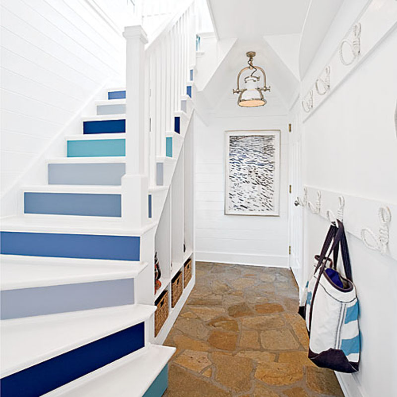 Shades of blue Coastal painted stairs | Coastal Living