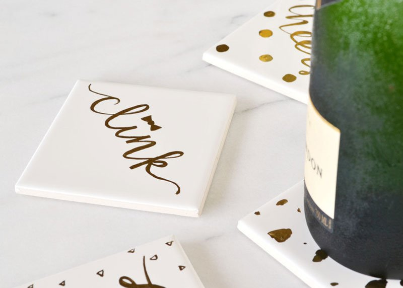 quick and easy metallic painted DIY tile coasters