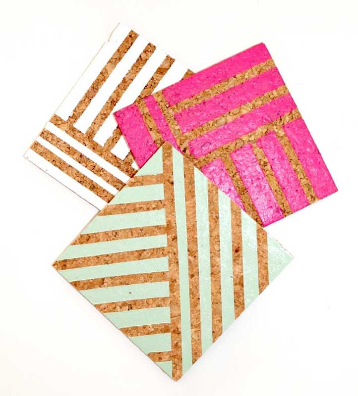 geometric painted cork DIY coasters