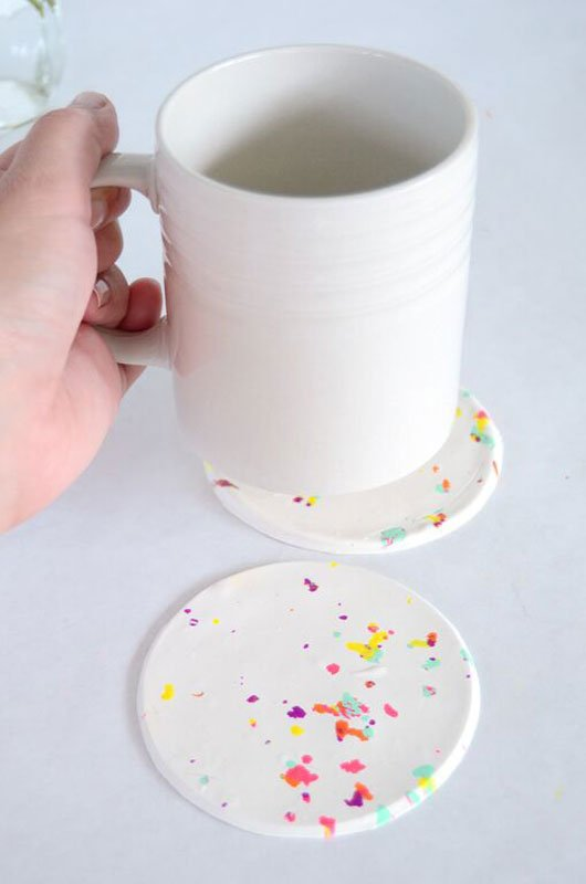 Splatter painted DIY coasters