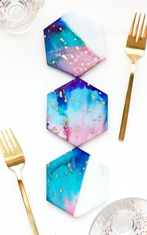 Modern celestial painted hexagon tile DIY coasters