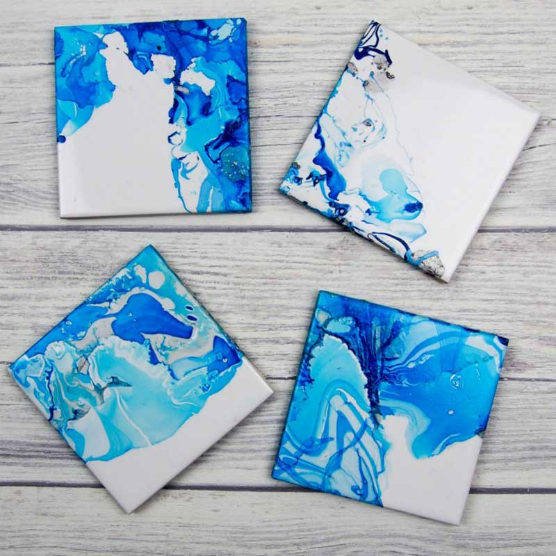 DIY marbled tile coasters