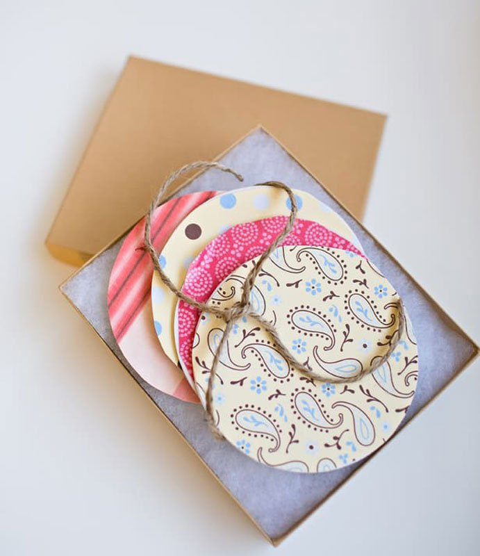 scrapbook paper DIY coasters