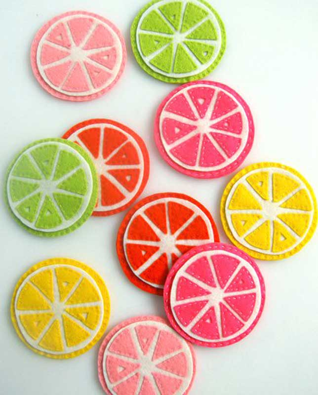 colorful and fun felted citrus DIY coasters