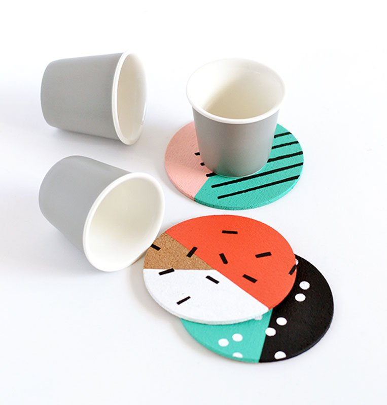 80s totally awesome cork DIY coasters