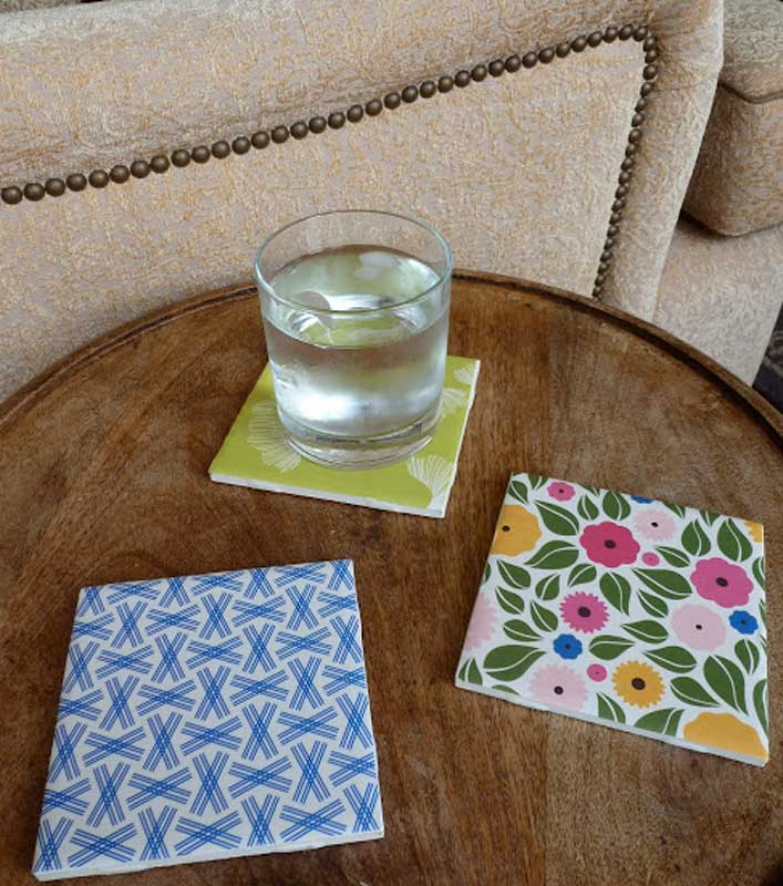 Modge Podge DIY tile coasters