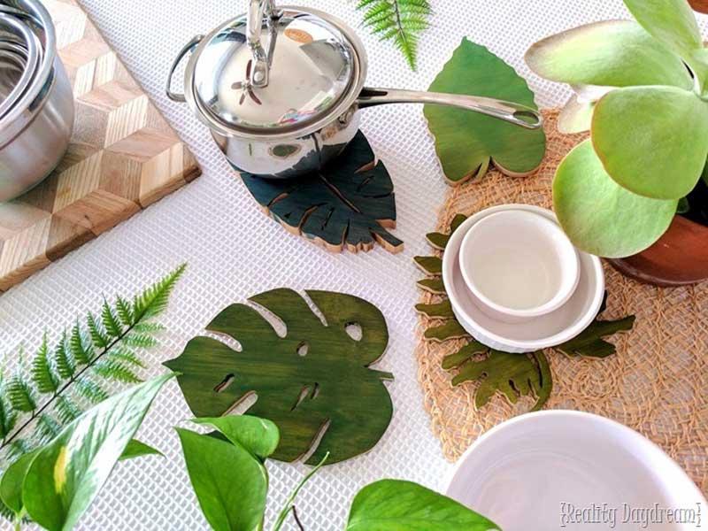 Gorgeous tropical palm DIY wood coasters
