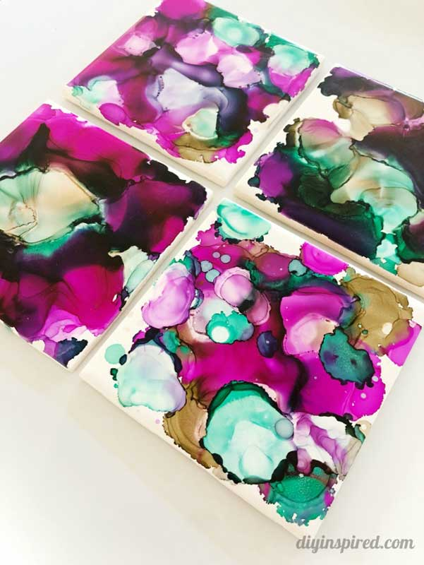 Alcohol marbled tile DIY coasters