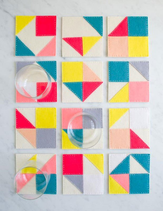 colorful felt DIY coasters