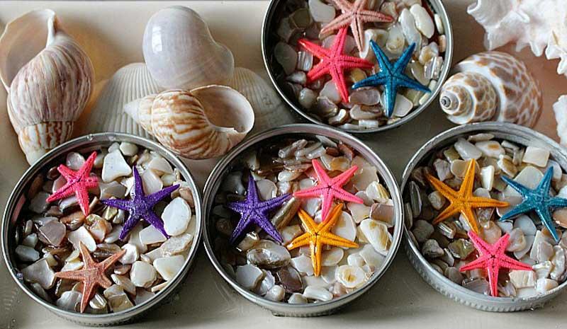 Mason Jar Lid Beachy DIY coasters
