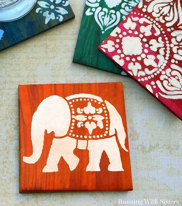 Dyed and stenciled DIY wood coasters
