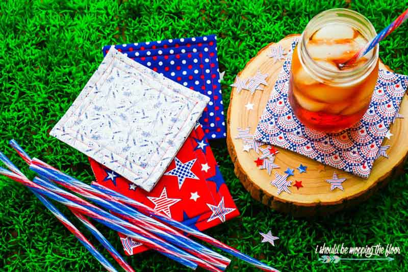 Patriotic DIY fabric coasters