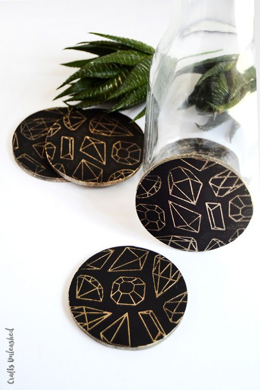 Gem-themed DIY coasters