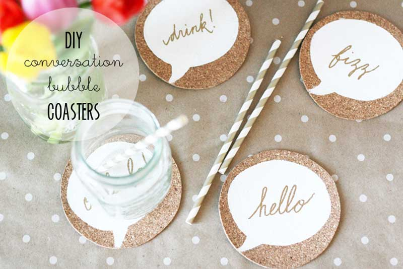 conversation bubbles DIY cork coasters