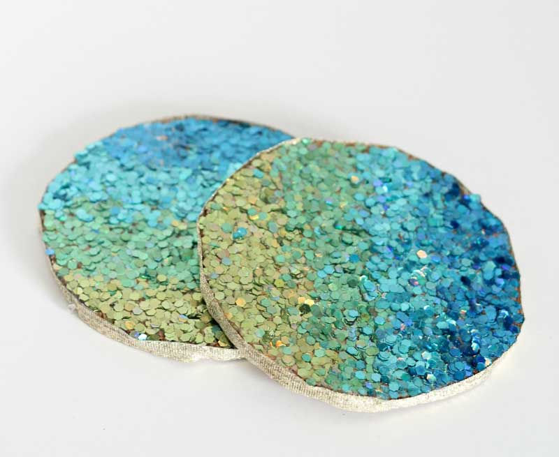 DIY glittered coasters