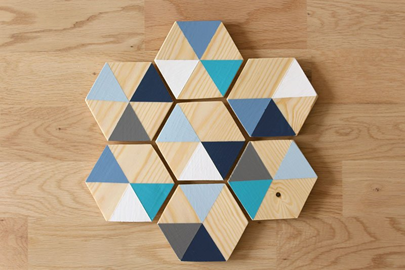 Geometric wood painted coasters