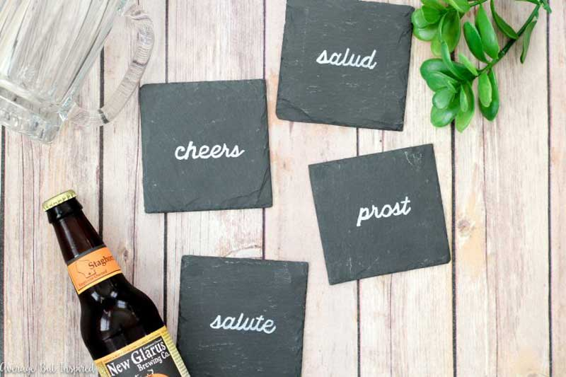 Chalk and slate DIY coasters - Cheers!