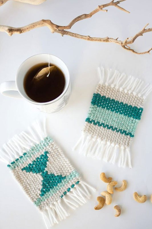 Hippie-chic, boho-beauty woven DIY coasters