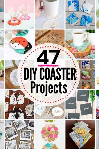 47 EPIC DIY Coaster Projects to Try! Coasters make such a thoughtful gift when they're homemade, and many of these are super simple to make!!