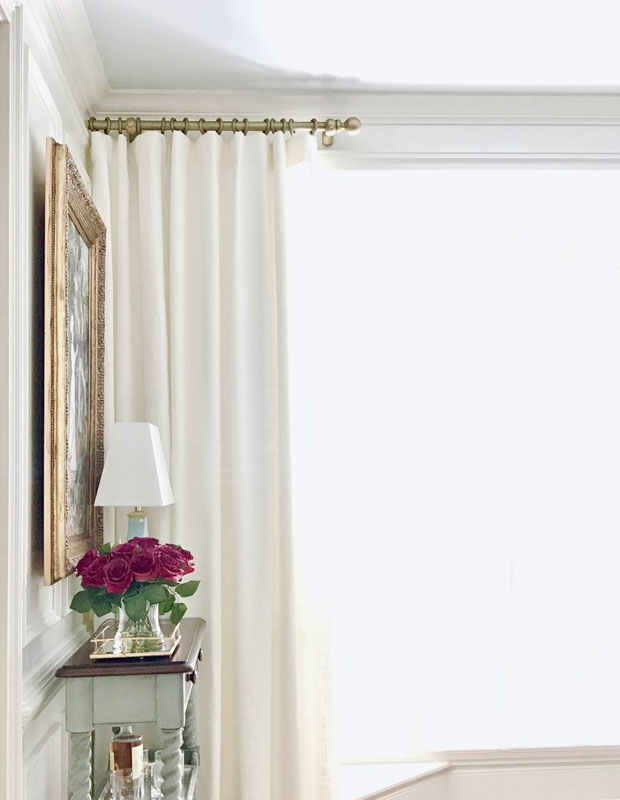 DIY Curtain Rods | how to paint on an antique faux brass finish via the chelsea project