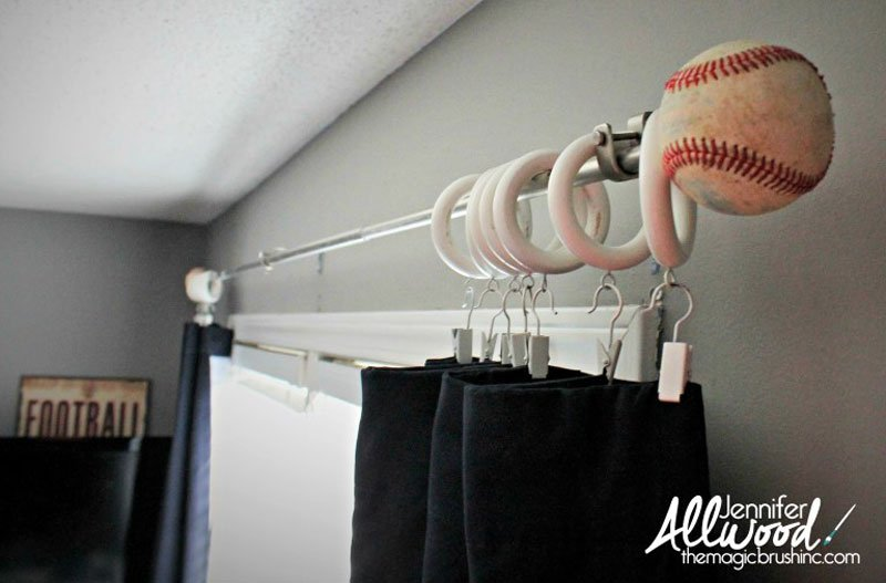 DIY Curtain Rods | Baseball curtain rod finials via The Magic Paintbrush