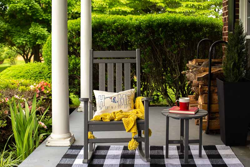 POLYWOOD furniture front porch makeover | POLYWOOD Plantation Rocker in Slate Grey with side table
