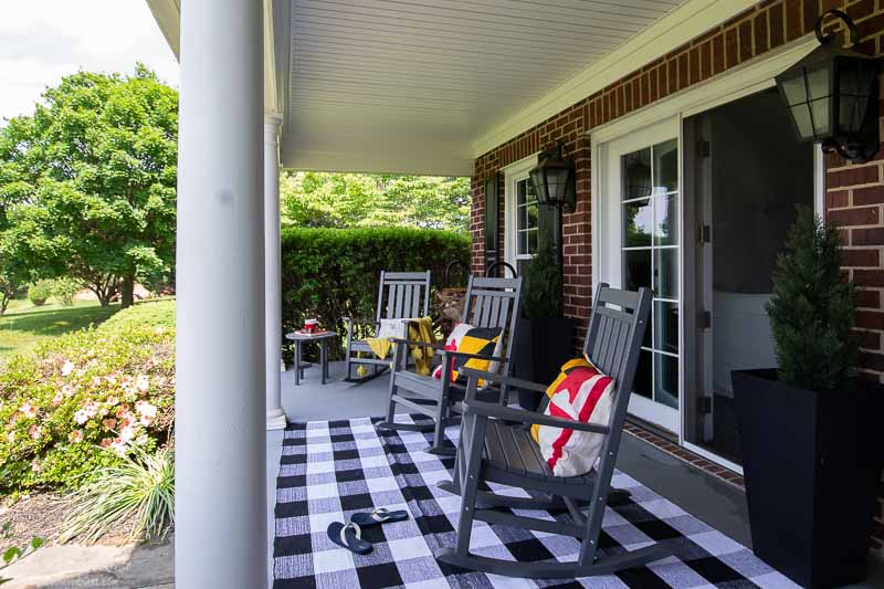 POLYWOOD furniture front porch makeover | three rocking chairs in slate gray on a front porch with white columns