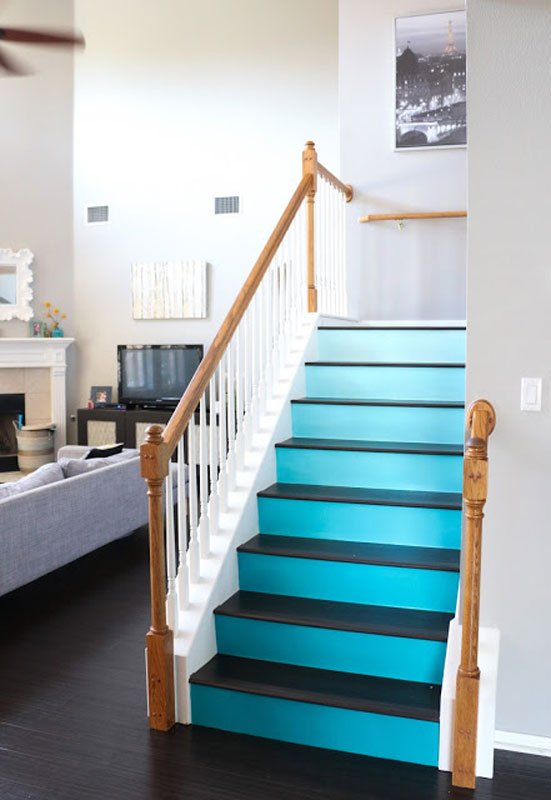 blue ombre DIY painted stairs | a kailo chic life