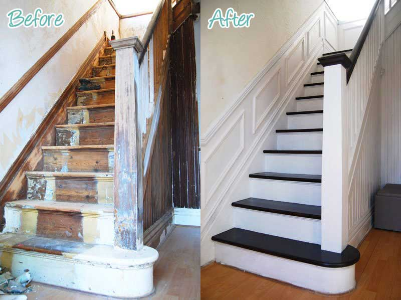 Black and white painted stairs | Little house on the corner