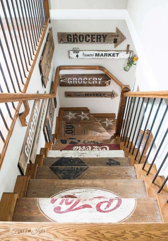 painted wooden crate inspired stairs | Funky Junk Interiors