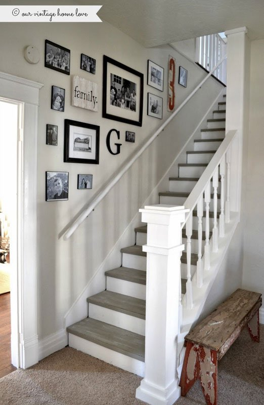 Farmhouse chic painted stairs | our vintage home love