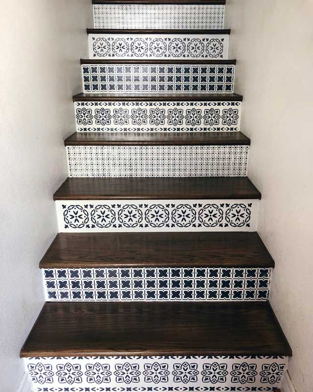 black and white painted stairs with riser stencil | bb frosch