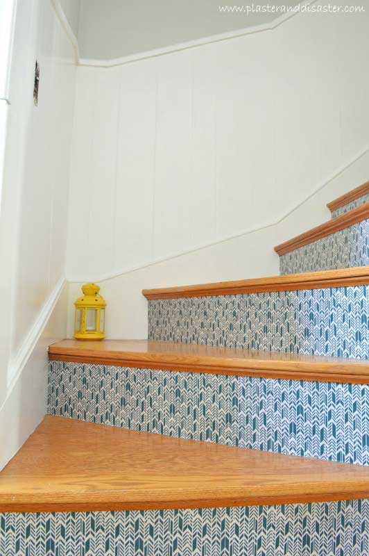 modge podged stair risers | remodelaholic