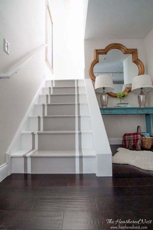 DIY painted stairs tutorial gray and white painted stair runner | the heathered nest