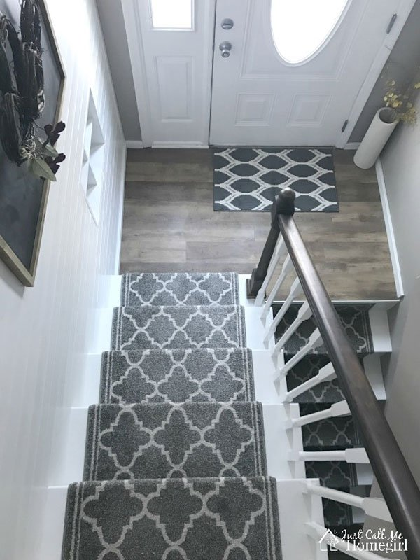 white DIY painted stairs with carpet runner | just call me homegirl