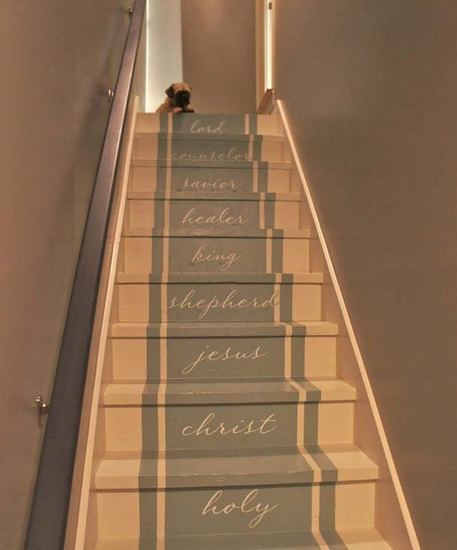 inspirational painted stairs with vinyl lettering | bella tucker