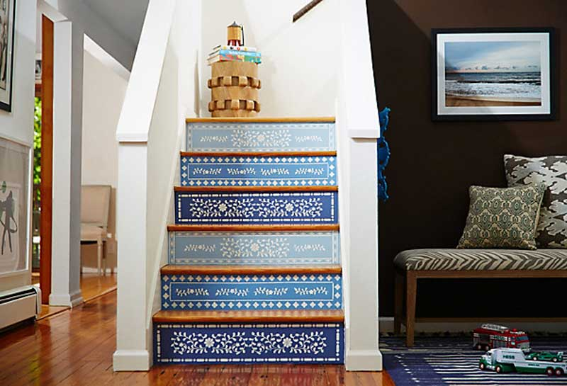 blue painted and stenciled staircase | one kings lane