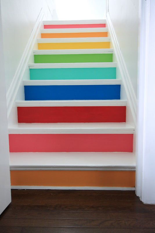 DIY spectrum painted stairs | Meg Duerksen