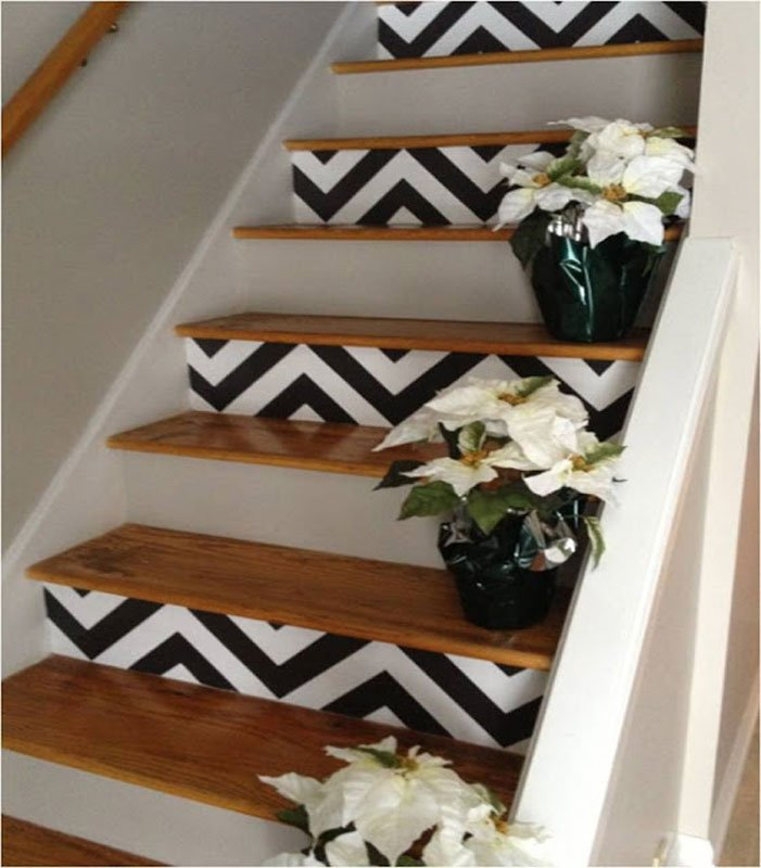 chevron painted stair risers | amber b design studio