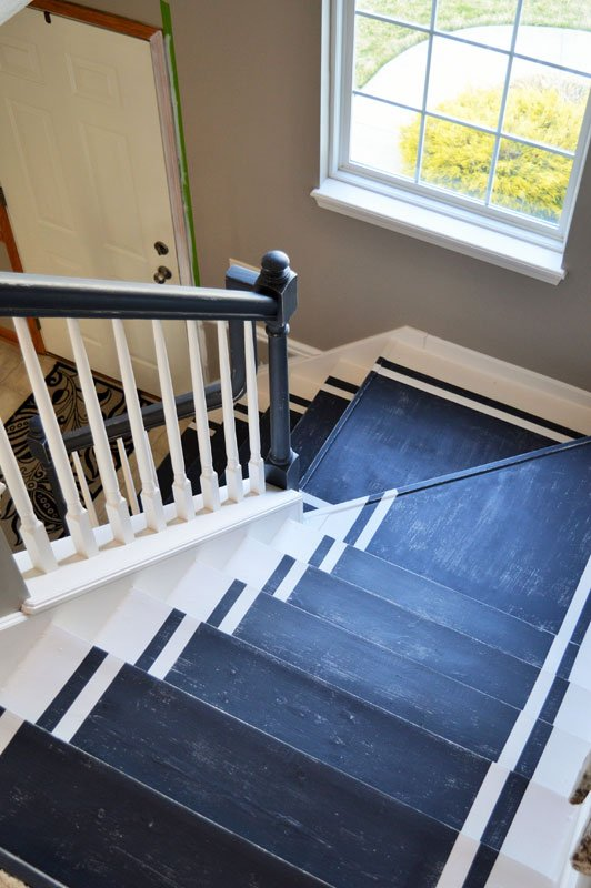 navy painted stair runner painted stairs | the other side of neutral