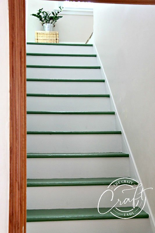 Magnolia Green painted stair treads | the crazy craft lady