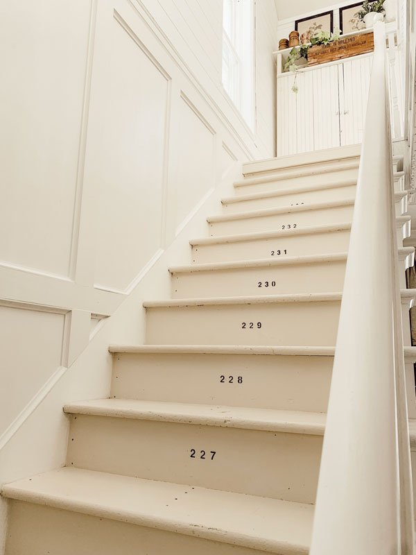 white farmhouse painted stairs with numbers | liz marie blog