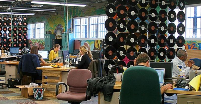 30+ Amazing Room Divider Ideas | Terracycle corporate offices unique room divider ideas with vintage records